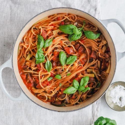 One pot pasta med chorizo opskrift