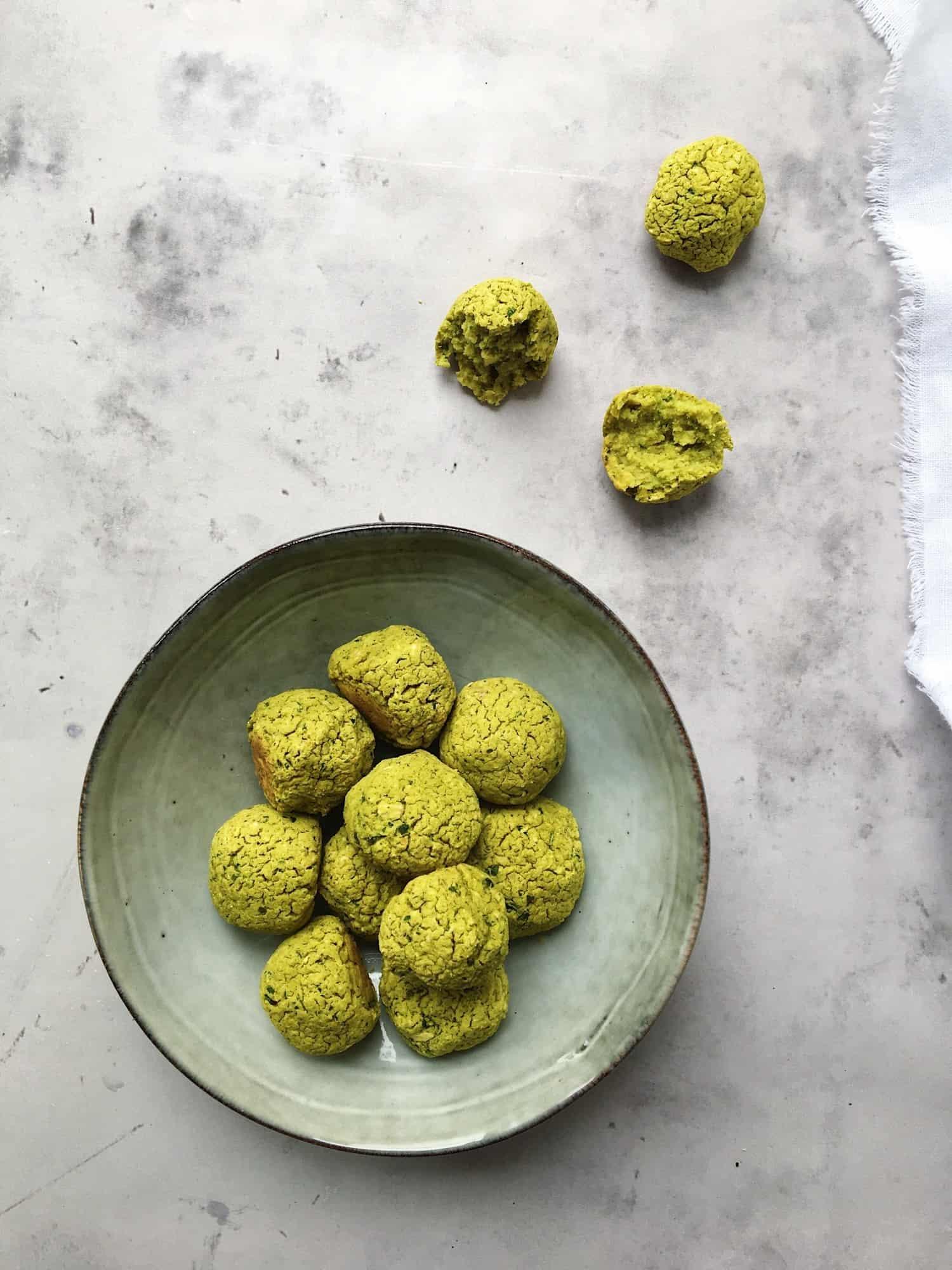 Grønne falafler bagt i ovnen