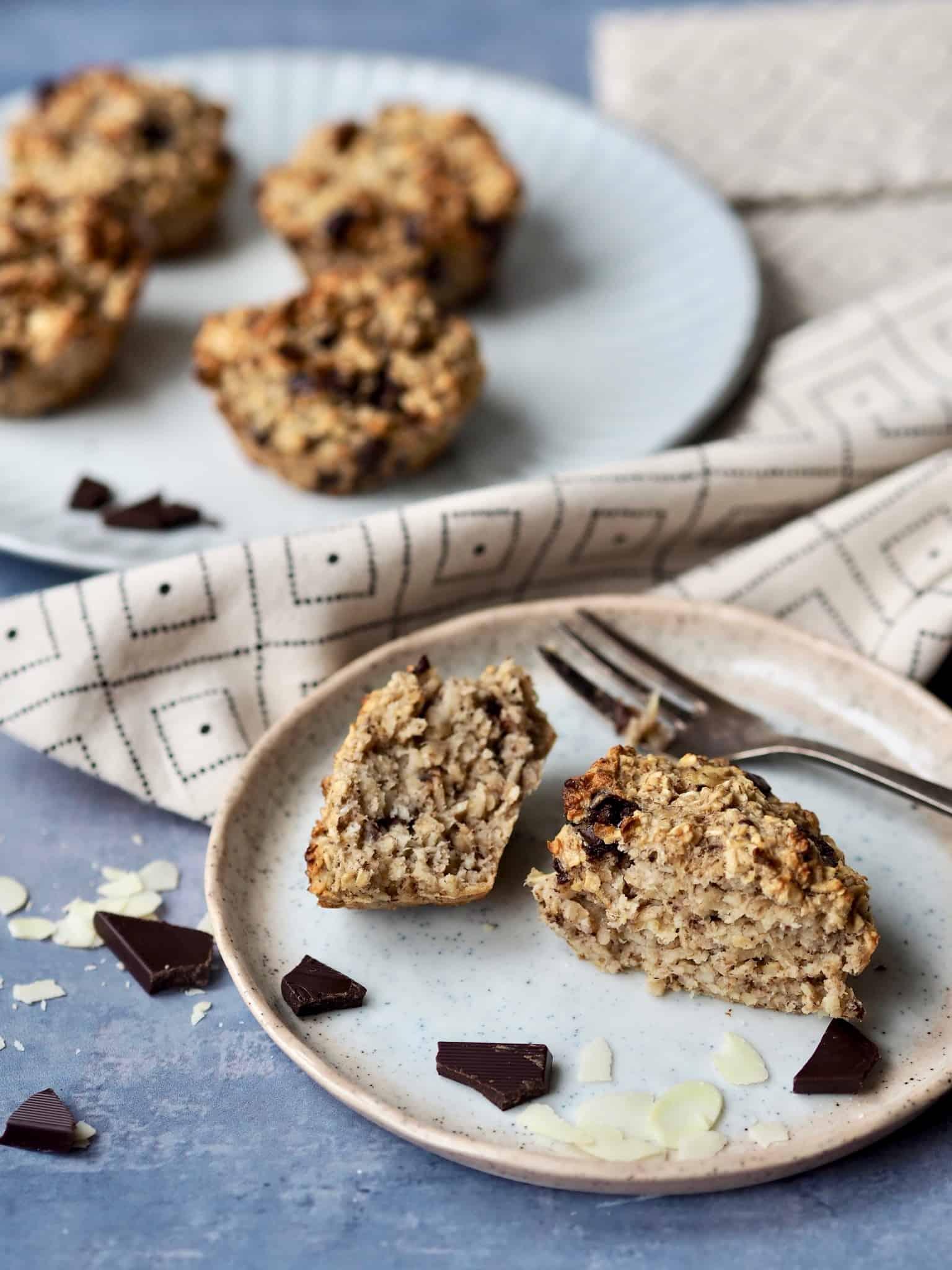 Hurtige havregrynsmuffins med chokolade - uden sukker