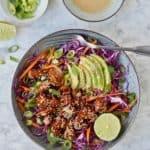 Asiatisk salat med soyamarinerede kylling og gomadressing