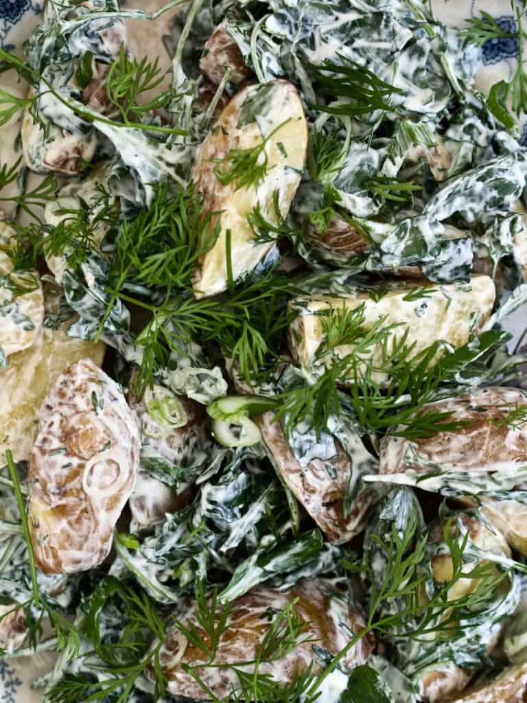 Hjemmelavet kartoffelsalat med rucola og dild