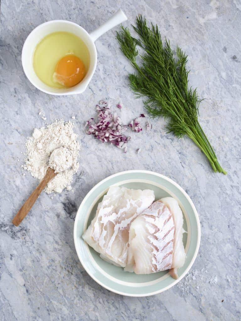 Ingredienser til fiskefrikadeller