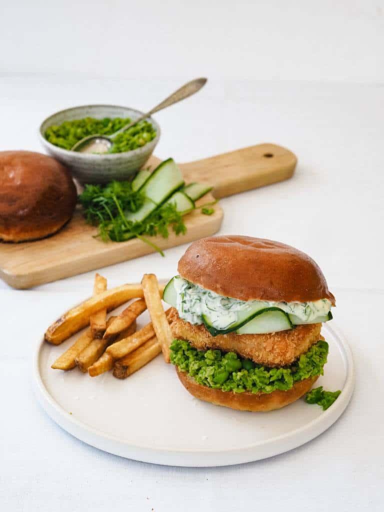 Fiskeburger med ætepuré