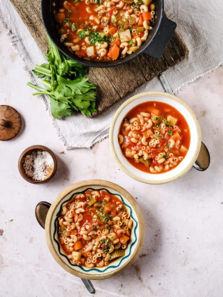 Klassisk minestronesuppe med pasta