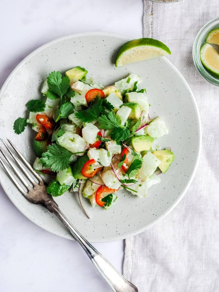 ceviche med agurk og lime