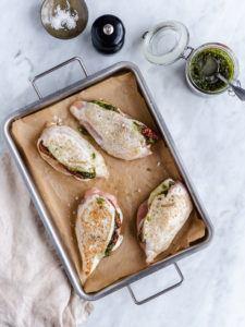 fyldte kyllingebryster med pesto
