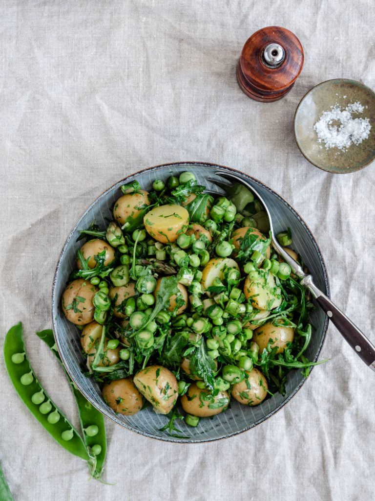 Grøn kartoffelsalat med rucola