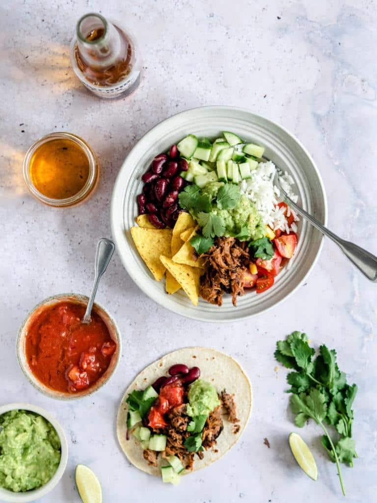 Mexi bowl med ris og pulled pork