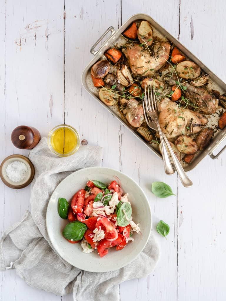 Tilbehør til kyllingelår bagt i fad i ovnen