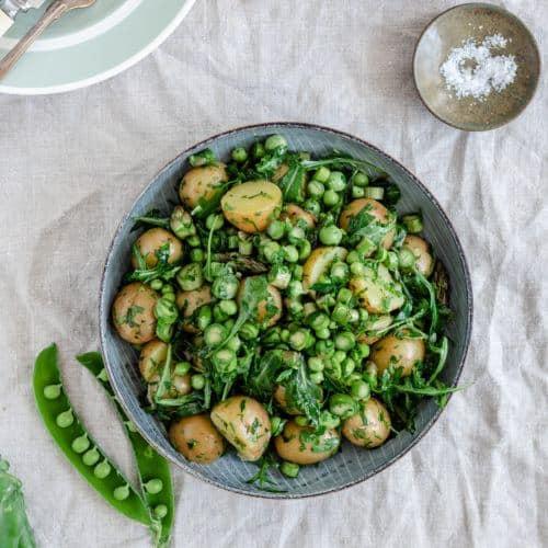 opskrift på kold grøn kartoffelsalat med
