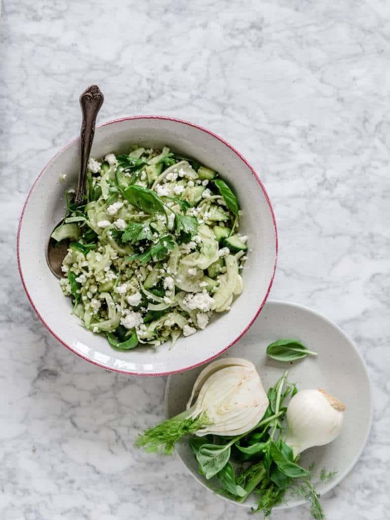 Grøn bulgursalat med feta og fennikel