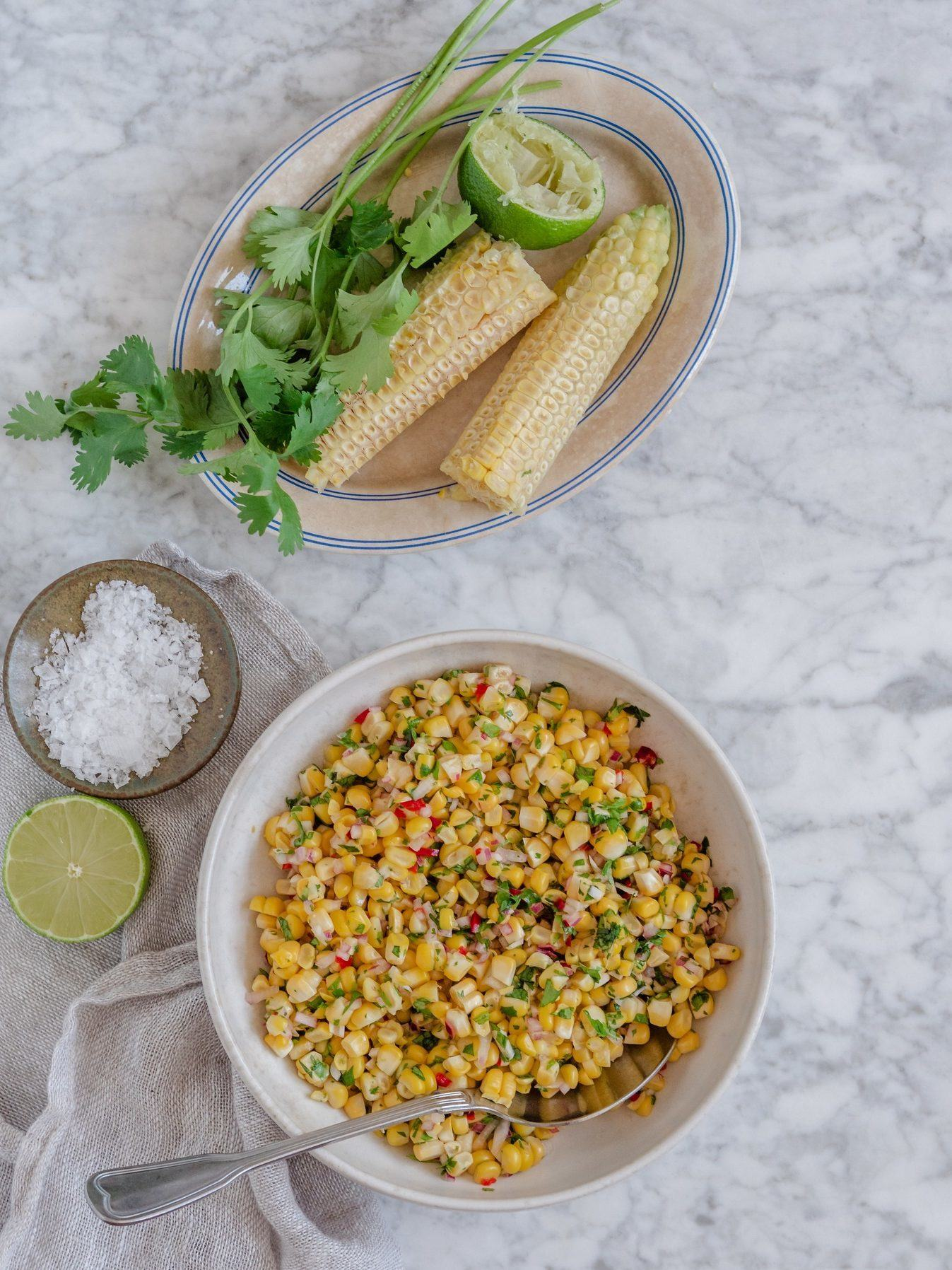majssalsa med koriander og lime