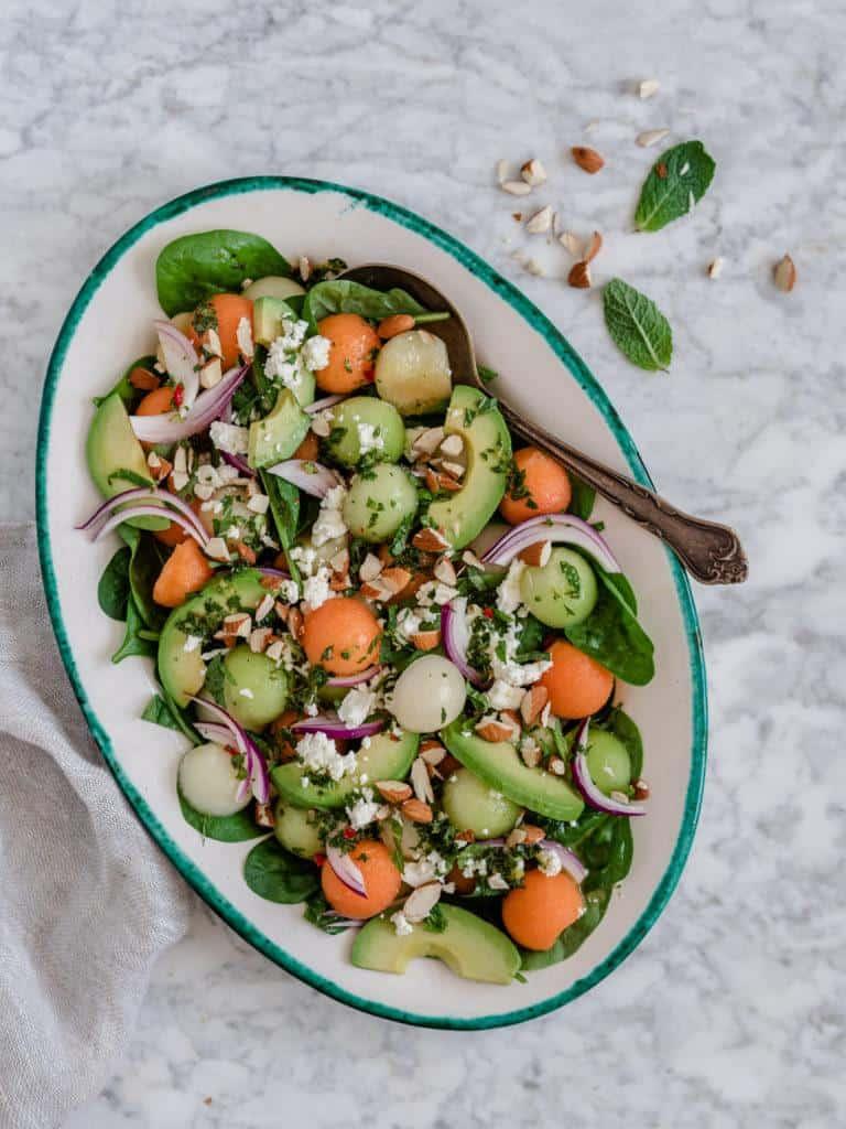 melonsalat med avocado og feta