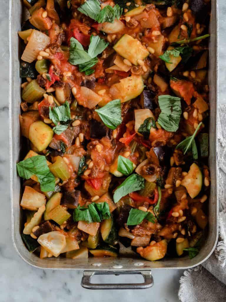 siciliansk Caponata med stegt aubergine
