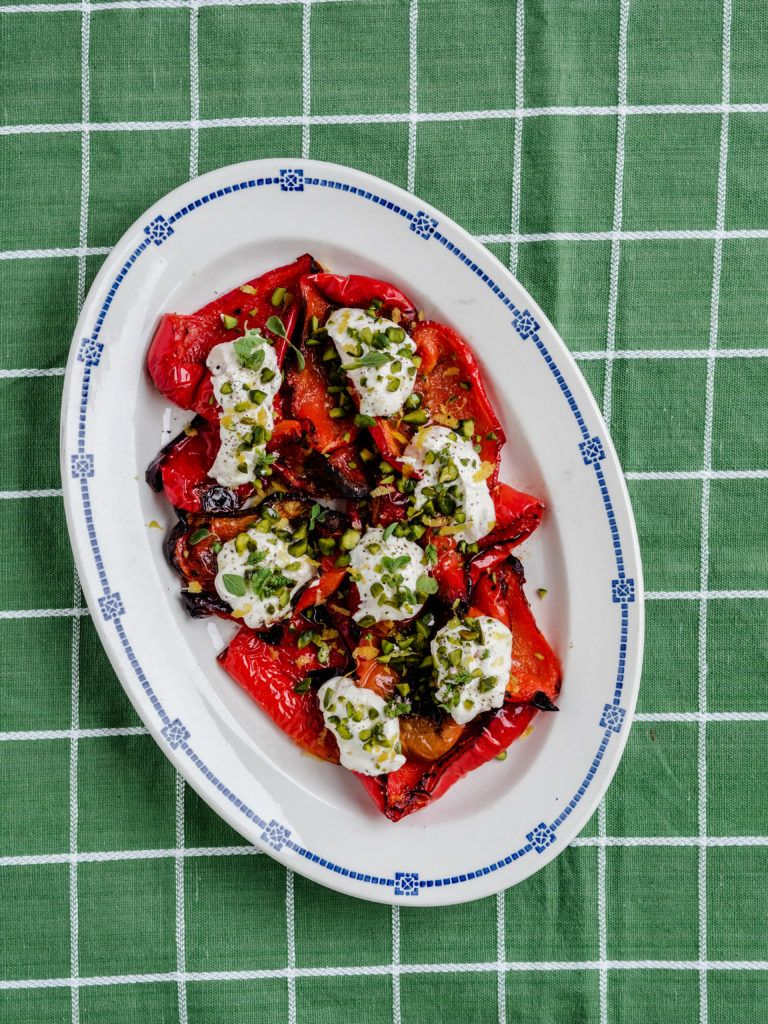 Grillede røde peberfrugter