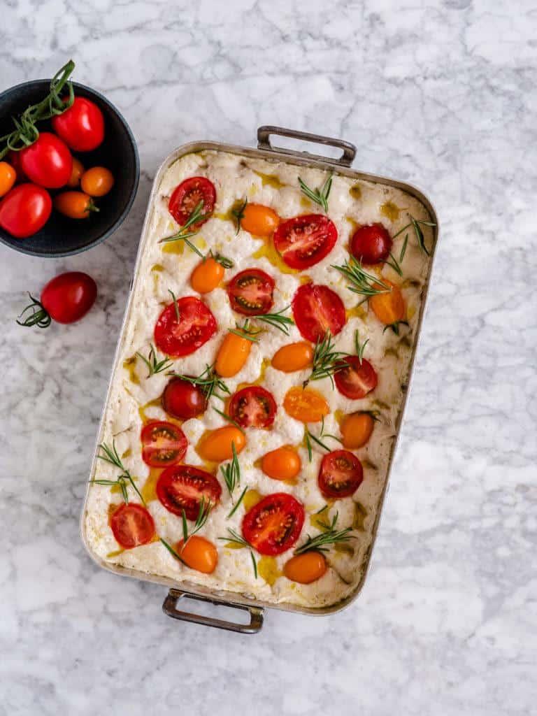 hjemmebagt Foccacia med tomat