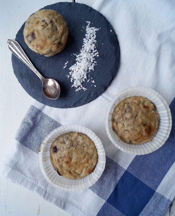 Hurtige og nemme bananmuffins med peanutbutter og kokos