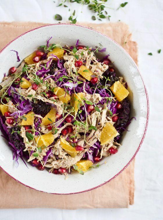 Salat med and og appelsin